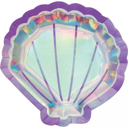 8 Assiettes Coquillage Sirène iridescente
