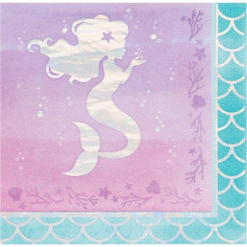 16 Serviettes Sirène iridescente