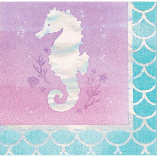 16 Petites Serviettes Hippocampe Sirène iridescente