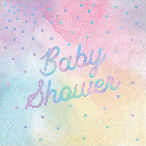 16 Serviettes Baby Shower Pastels iridescent