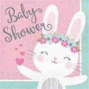 16 Serviettes Lapin Joyeux - Baby Shower