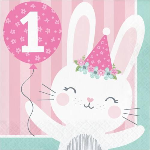16 Serviettes Lapin Joyeux 1 An Pour L Anniversaire De Votre Enfant Annikids