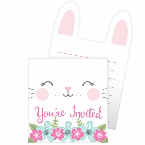 8 invitations Lapin Joyeux