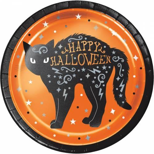 8 Petites Assiettes Chat - Halloween