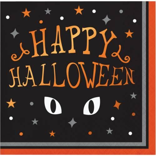 16 Petites Serviettes - Yeux de Chat Halloween