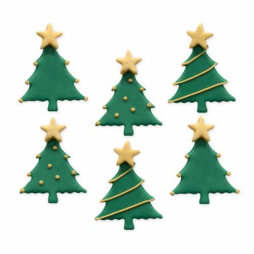 6 Décors en Sucre - Sapins de Noël (3 cm)
