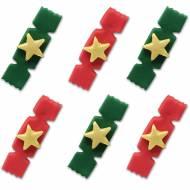 6 Décors en Sucre - Crackers de Noël (4 cm)