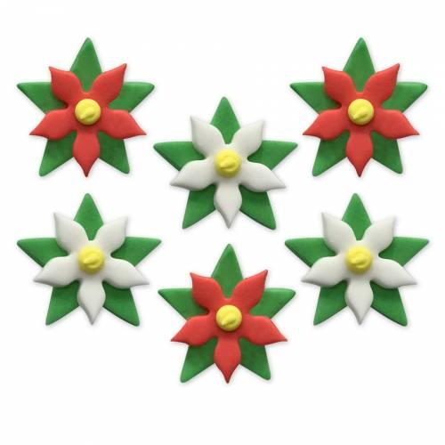 6 Décors en Sucre - Roses de Noël (3 cm)