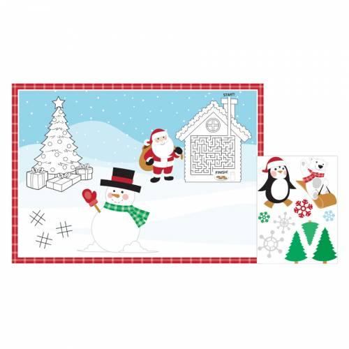8 Sets de Table à Colorier Noël + Stickers