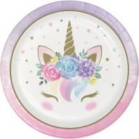Contient : 1 x 8 Assiettes Unicorn Baby