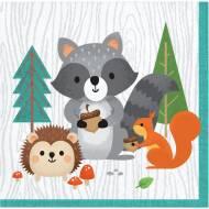16 Petites Serviettes Animaux des Bois