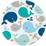 8 Assiettes Baleine Bleue