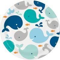 Contient : 1 x 8 Assiettes Baleine Bleue