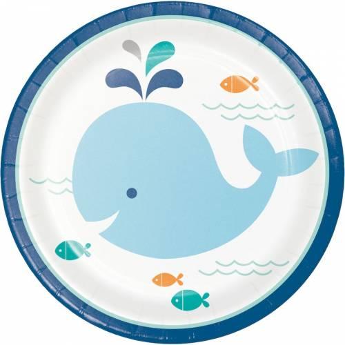 8 Petites Assiettes Baleine Bleue
