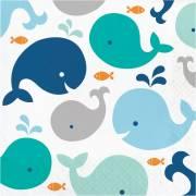 16 Serviettes Baleine Bleue