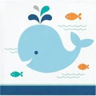 16 Petites Serviettes Baleine Bleue