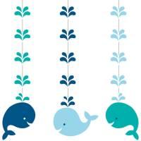 Contient : 1 x 3 Guirlandes Spirales Baleine Bleue