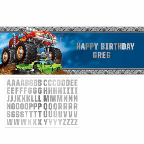 Bannière Personnalisable Lettre Happy Birthday Monster Truck Rally