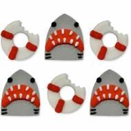 6 Décors en sucre  - Requin et Bouée de Sauvetage