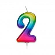 Bougie Rainbow Chiffre 2 - 7 cm