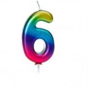 Bougie Rainbow Chiffre 6- 7 cm