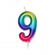 Bougie Rainbow Chiffre 9 - 7 cm