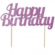 Cake Toppers Happy Bithday Pailleté - Rose