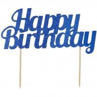 Cake Toppers Happy Birthday Pailleté - Bleu