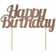 Cake Toppers Happy Bithday Pailleté - Rose Gold