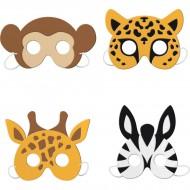 4 Masques Animaux de la Savane - Mousse