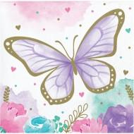 16 Petites Serviettes Papillon