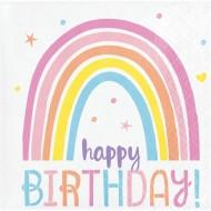 16 Petites Serviettes Happy Birthday Joyeux Arc-en-Ciel