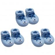 3 Paires de Chaussons Bleu - Sucre