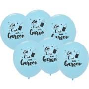 6 Ballons Bleus - C'est un Garçon 30 cm