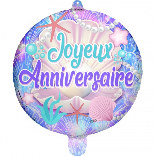 Ballon à Plat Joyeux Anniversaire Coquillages