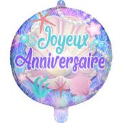 Ballon Gonflé à l'Hélium Joyeux Anniversaire Coquillages