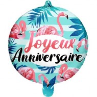 Ballon à Plat Joyeux Anniversaire Flamant Rose