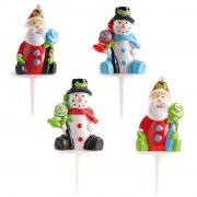 2 Pères Noël, 2 Bonhomme de neige à piquer
