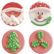 4 décors ronds Noël en sucre