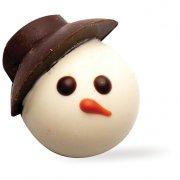 4 T�tes en chocolat bonhomme de neige