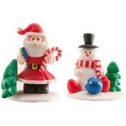 1 Père Noël et 1 Bonhomme de neige sur socle