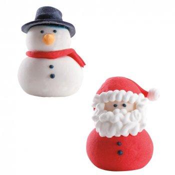Duo Père Noël + Bonhomme de neige en sucre