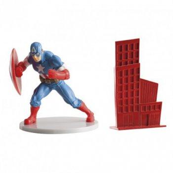 1 Figurine et 1 Décor Captain América pour Gâteau