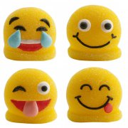 4 Figurines Smiley 2D en sucre g�lifi�