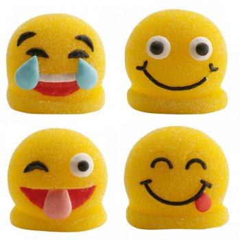 4 Figurines Smiley 2D en sucre gélifié