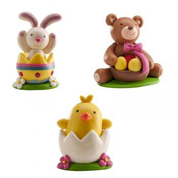 3 Figurines Pâques en PVC