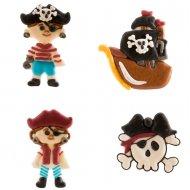 4 Décors à plat Pirates (5 cm) - Sucre