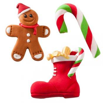 Set de 4 décors de Noël en sucre