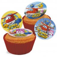 16 Mini disques en sucre Super Wings (3,4 cm)