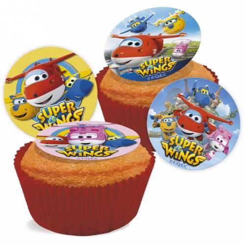 16 Mini disques en sucre Super Wings (3,4 cm)